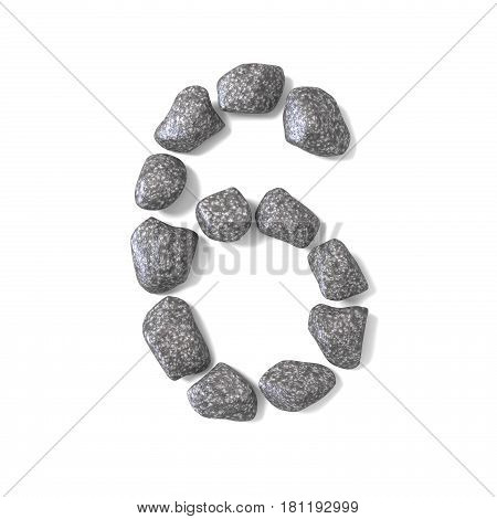 Font Made Of Rocks Number Six 6 3D