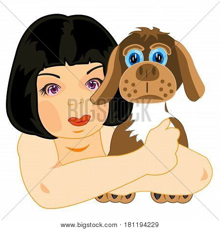 Girl brunette with loved charge by dog on white background