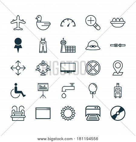 Set Of 25 Universal Editable Icons. Can Be Used For Web, Mobile And App Design. Includes Elements Such As Cd-Rom, Printed Document, Exit And More.