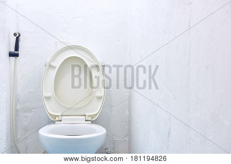 Close up of White toilet bowl in the bathroom