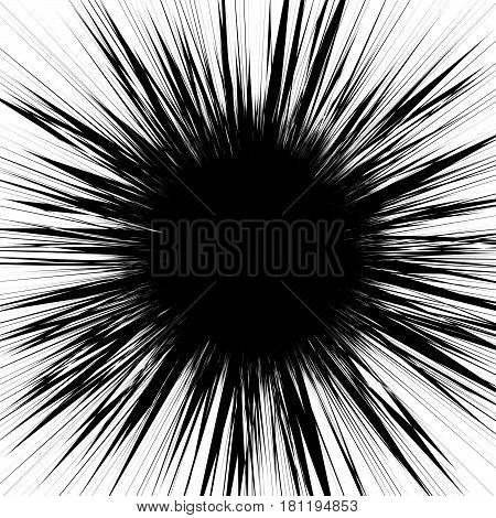 Radial Lines Rays, Beams Abstract Illustration. Radiating Random Lines Concentric Pattern.