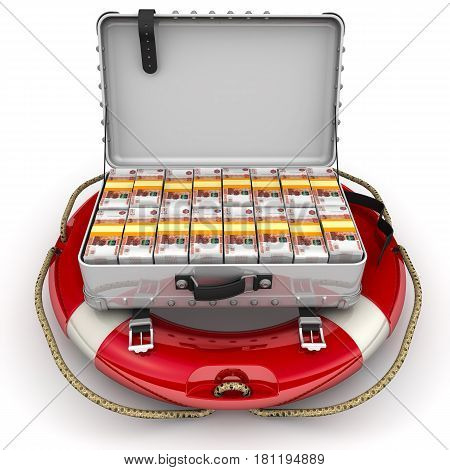 Financial security. Open suitcase filled with packs of Russian banknotes lying on the lifeline. The concept of financial security. Isolated. 3D Illustration