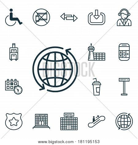 Set Of 16 Transportation Icons. Includes Operator, Cop Symbol, Crossroad And Other Symbols. Beautiful Design Elements.