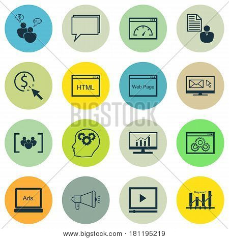 Set Of 16 Marketing Icons. Includes PPC, Intellectual Process, Coding And Other Symbols. Beautiful Design Elements.