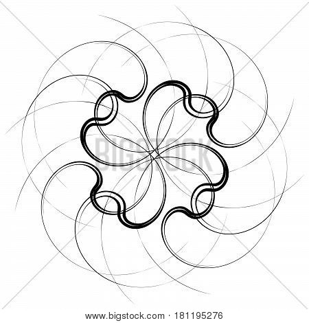 Geometric Concentric Element. Abstract Spiral Shape On White