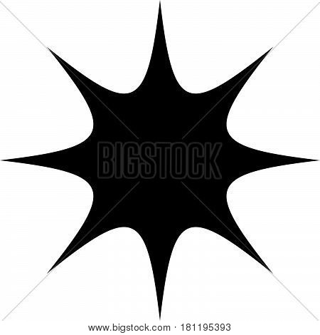Starburst sunburst or gleam glitter shape element silhouette poster