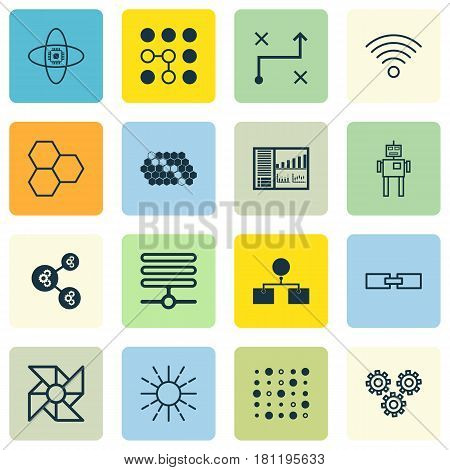Set Of 16 Robotics Icons. Includes Information Base, Solution, Computing Problems And Other Symbols. Beautiful Design Elements.