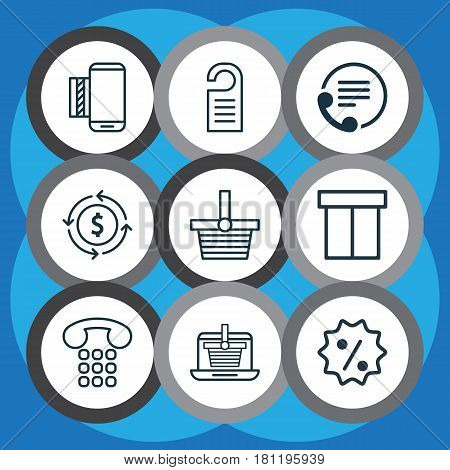 Set Of 9 Ecommerce Icons. Includes Price, Telephone, E-Trade And Other Symbols. Beautiful Design Elements.