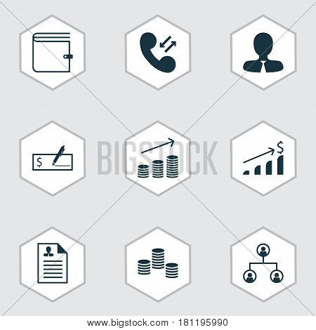 Set Of 9 Human Resources Icons. Includes Tree Structure, Successful Investment, Curriculum Vitae And Other Symbols. Beautiful Design Elements.