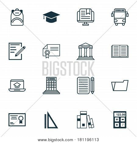 Set Of 16 Education Icons. Includes Document Case, Graduation, Transport Vehicle And Other Symbols. Beautiful Design Elements.