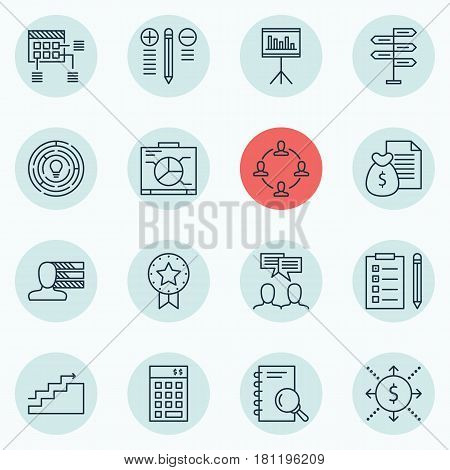 Set Of 16 Project Management Icons. Includes Investment, Reminder, Present Badge And Other Symbols. Beautiful Design Elements.
