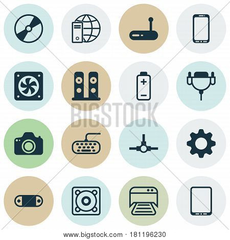 Set Of 16 Computer Hardware Icons. Includes Loudspeakers, Computer Ventilation, Cd-Rom And Other Symbols. Beautiful Design Elements.