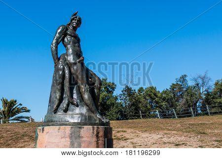 SAN DIEGO, CALIFORNIA - APRIL 1, 2017:  Artist Arthur Putnam's bronze statue