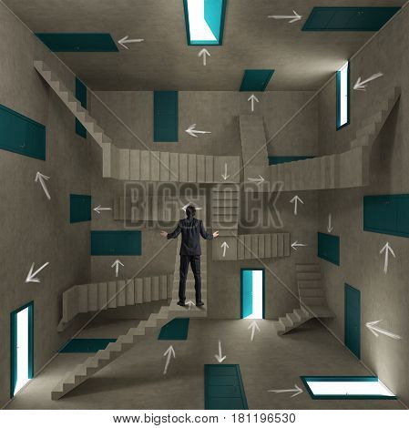 Concept of confusion and complexity with a businessman in a room full of doors, stairs and arrows