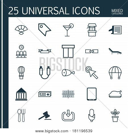 Set Of 25 Universal Editable Icons. Can Be Used For Web, Mobile And App Design. Includes Elements Such As Skydive, Related Information, Chicken Fry And More.