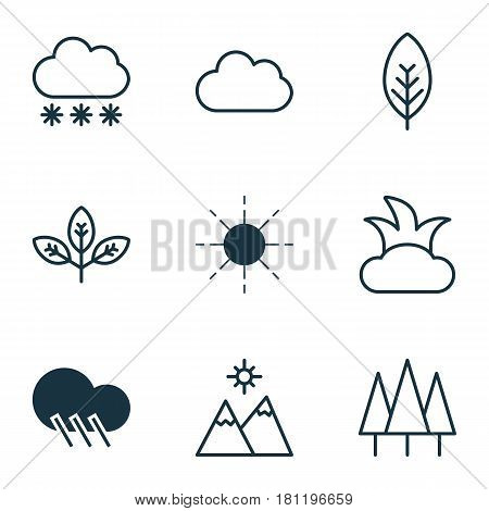Set Of 9 Nature Icons. Includes Sprout, Forest, Cloud And Other Symbols. Beautiful Design Elements.