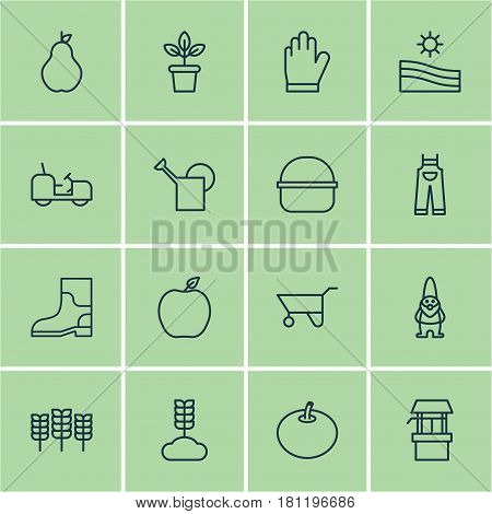 Set Of 16 Garden Icons. Includes Agrimotor, Cereal, Package And Other Symbols. Beautiful Design Elements.
