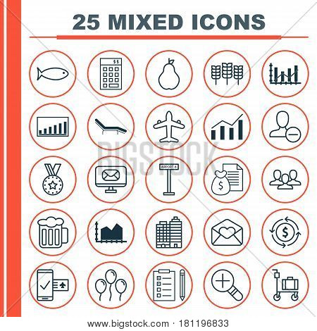 Set Of 25 Universal Editable Icons. Can Be Used For Web, Mobile And App Design. Includes Elements Such As Greeting Email, Phone Reservation, Remove User And More.
