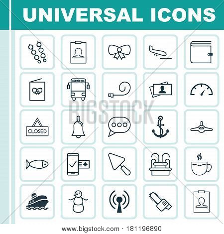 Set Of 25 Universal Editable Icons. Can Be Used For Web, Mobile And App Design. Includes Elements Such As Closed Placard, Identity Card, Winter And More.