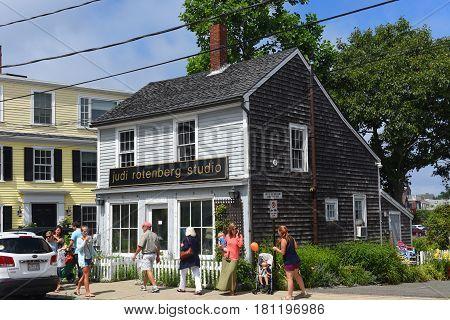 ROCKPORT, MA, USA - JUL 25, 2015: Historic Building on Mt Pleasant Street in downtown Rockport, Massachusetts, USA.