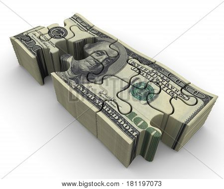 Pack of US banknotes in the form of a puzzle. A pack of American banknotes in the form of an unassembled puzzle on white surface. Isolated. 3D Illustration