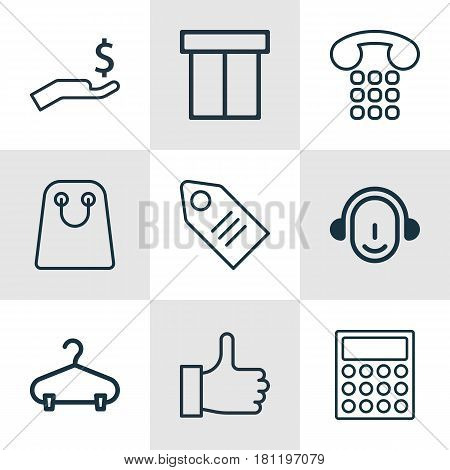 Set Of 9 E-Commerce Icons. Includes Recommended, Ticket, Employee And Other Symbols. Beautiful Design Elements.
