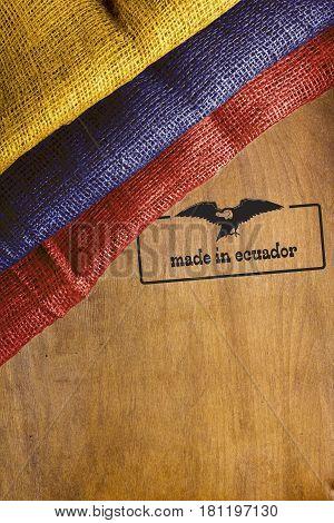 Flag of Ecuador with a symbolic notation Made in Ecuador