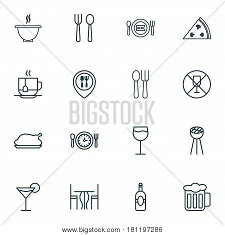 Set Of 16 Eating Icons. Includes Wineglass, Cocktail, Eating House And Other Symbols. Beautiful Design Elements.