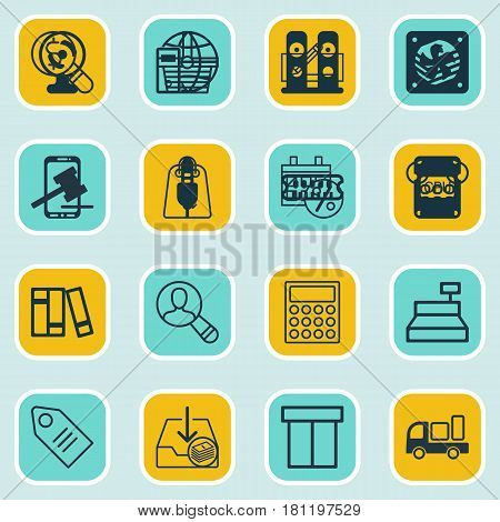 Set Of 16 Commerce Icons. Includes Delivery, Ticket, Callcentre And Other Symbols. Beautiful Design Elements.