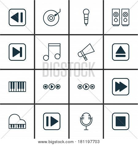 Set Of 16 Music Icons. Includes Microphone, Octave, Extract Device And Other Symbols. Beautiful Design Elements.