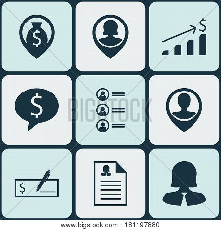 Set Of 9 Hr Icons. Includes Job Applicants, Money Navigation, Bank Payment And Other Symbols. Beautiful Design Elements.