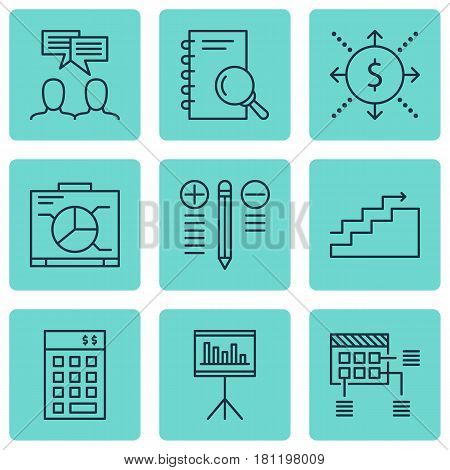Set Of 9 Project Management Icons. Includes Presentation, Schedule, Investment And Other Symbols. Beautiful Design Elements.