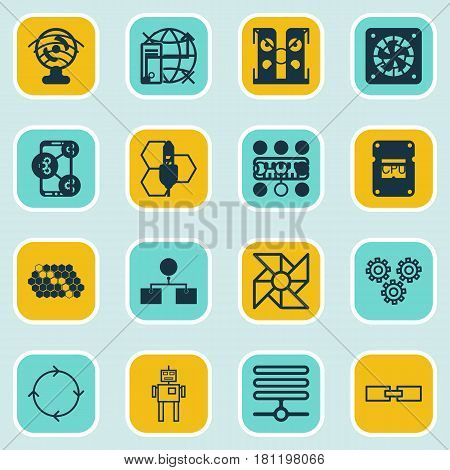Set Of 16 Artificial Intelligence Icons. Includes Mechanism Parts, Laptop Ventilator, Lightness Mode And Other Symbols. Beautiful Design Elements.