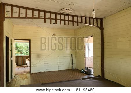 Inside an old Queenslander style house ready for renovation