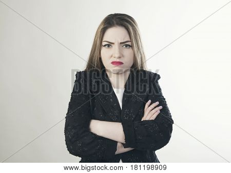 Young business offense woman isolated portrait photo