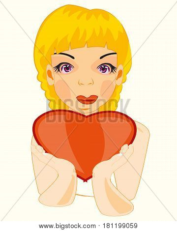 Making look younger attractive girl keeps red heart in hand