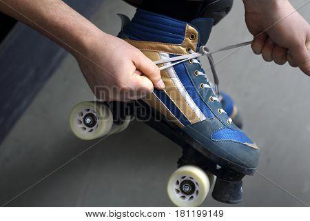 Roller skates. Woman on roller skates. Rollerskating