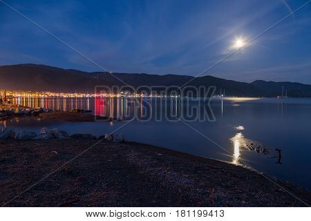 Marmaris at night with moon light from the beach