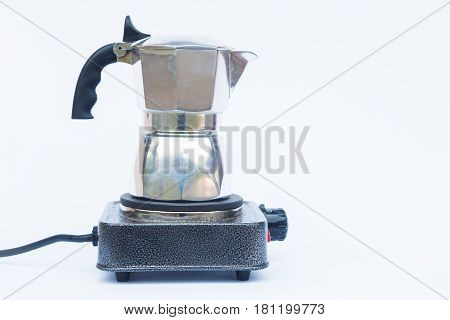 Moka pot isolated on white background, stock photo