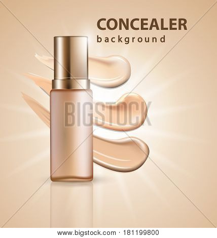 Cosmetic product, Foundation, concealer, cream with smear strokes. Beauty and cosmetics background. Use for advertising flyer, banner, leaflet.Template Vector