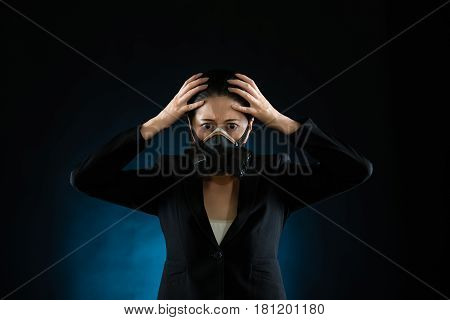 Woman In Protective Mask On Black And Blue Background