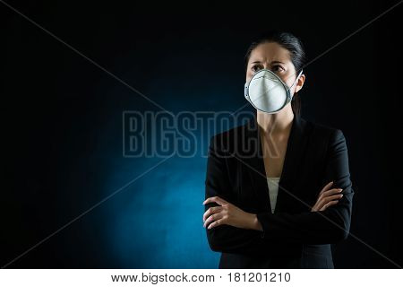 Person Wearing Protective Mask Against Infectious