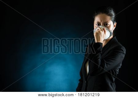 Portrait Of Young Business Woman Wearing A Mask