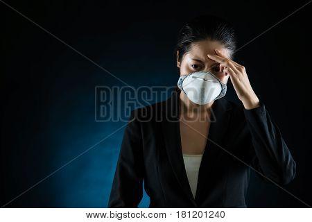 Headache Woman Feel Unwell Wearing A Face Mask