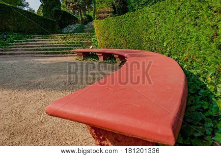 bench in the mediterranian park with bright greenery