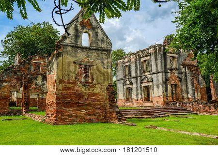Ruin residence for Ambassador (Wichayen house) during King Narai era the travel destination in Lopburi Thailand