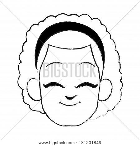 face of happy young girl with curly hair and headband icon image vector illustration design