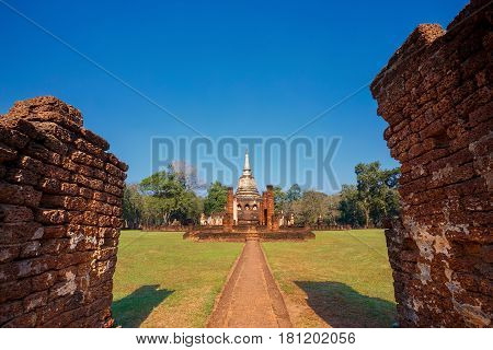 Wat Chang Lom Temple at Si Satchanalai Historical Park, a UNESCO world heritage site in Sukhothai, Thailand poster