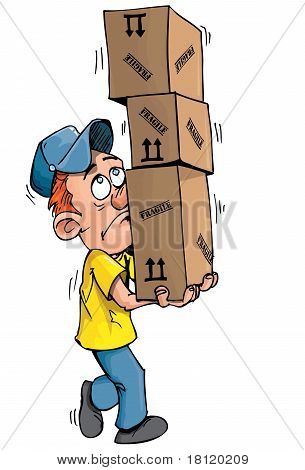 Cartoon Delivery Man Carrying A Stack Of Boxes