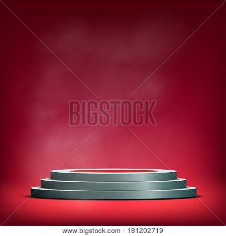Pedestal for winners. Sale and advertising. Background with podium. Stock vector illustration.